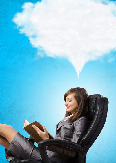 Image of person sitting in a chair, leaned back with a thinking cloud above her head